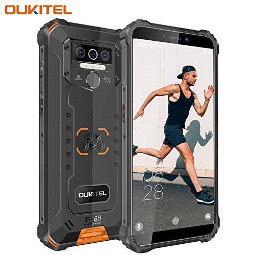 OUKITEL WP5 (2020) Outdoor Smartphone Ohne Vertrag, 4G Dual SIM IP68 wasserdichter, 8000mAh Akku Robustes Handy, 4GB 32GB Android 9.0 Global Version 5,5 Zoll Triple Kamera Face/Fingerprint ID (Orange)