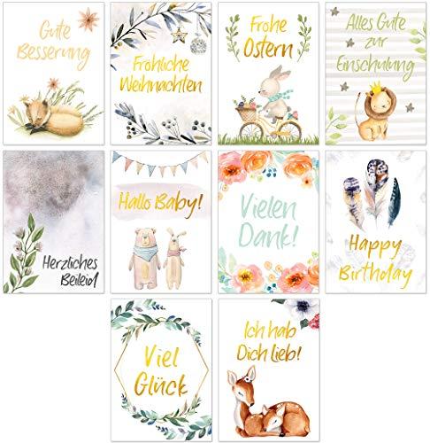 Postkarten-Set mit 10 schönen Karten Moments - Sprüche Grußkarten Gold Zitaten Lebensweisheiten Motivationskarten verschiedene Anlässe Happy Birthday, Viel Glück, Baby