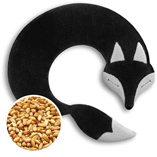 SACO TÉRMICO Leschi de semillas para microondas/para la tensión cervical/Animal: Zorro Noah, negro