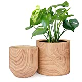 HOMENOTE Plant Pots Indoor 6/4.8 inch Pack 2, Ceramic Planter Flower Pots with Natural Wood Texture
