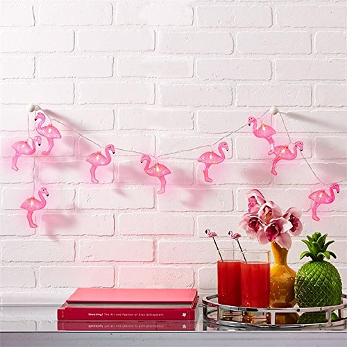 willway Flamingo Lights, 1.6m 10LEDs Pink Flamingo String Lights for Patio Garden Dorm Bedroom Wedding Party Christmas Decorations (Warm White)