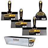 DEWALT Stainless Steel Taping Knife & Mud Pan Set + FREE BONUS 6' Soft Grip Putty Knife | 8/10/12' Blades + 14' Mud Pan | Soft Grip Handles | DXTT-3-174