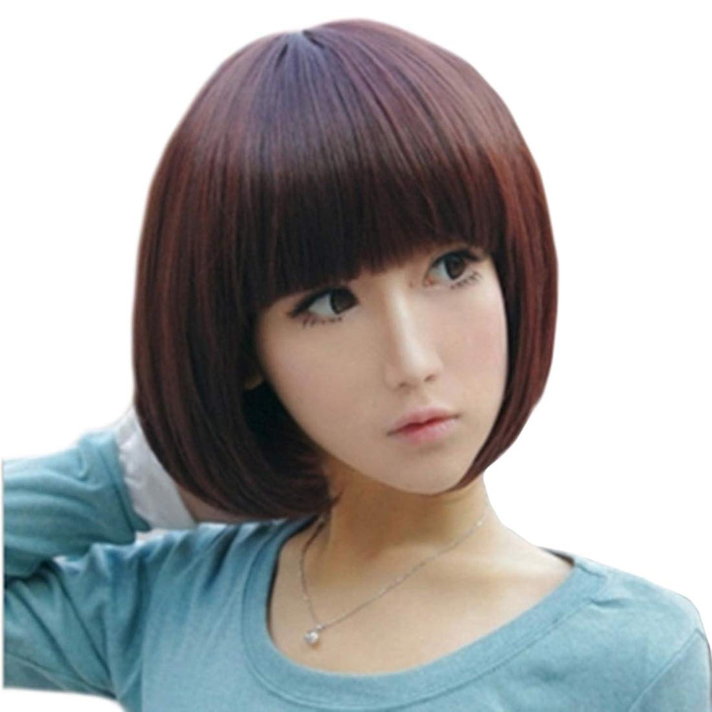 つかの間ずらす暗殺Summerys 本物の髪のように自然な女性のための平らな前髪でストレートショートボブの髪かつら