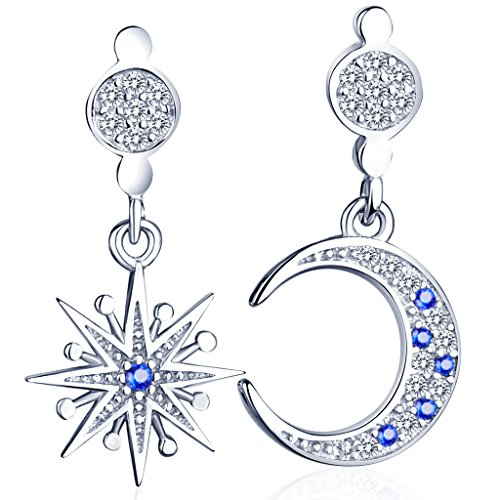 Infinite U Fashion Star&Moon Mismatched Earrings 925 Sterling Silver Cubic Zirconia Drops Dangles Studs for Women/Girls, Silver+Blue