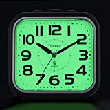 5.5' Night Light Analog Alarm Clock Silent Non Ticking, Gentle Wake, Beep Sounds, Increasing Volume, Battery Operated Snooze and Manual Light, Easy Set (Best for Elder)