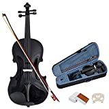 COSTWAY Geige Violinen Set 4/4 Koffer + Bogen + Zubehör Kolofonium aus Holz für Anfänger (Braun) (Schwarz)