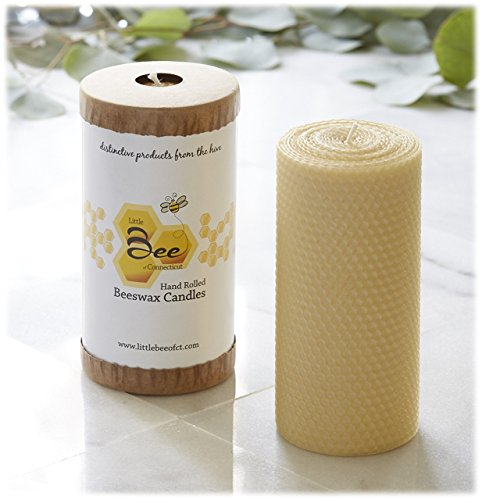 6 Inch Hand-Rolled Beeswax Pillar Candle - Little Bee of Connecticut