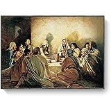 YL–wallart Cuadros de Arte de Pared La última Cena Da Vinci Pintura Famosa sobre Lienzo Carteles e Impresiones religiosos de Jesús Cuadro de Pared 70x90cm sin Marco