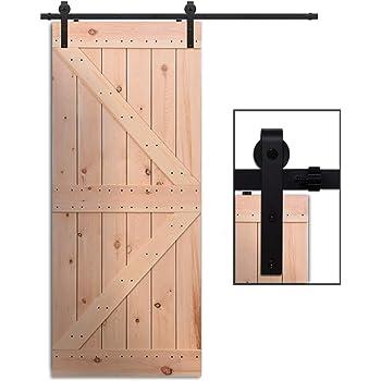 CCJH 7.5FT-229cm Herraje para Puerta Corredera Kit de Accesorios para Puertas Correderas Rueda Riel Juego para Una Puerta de Madera: Amazon.es: Bricolaje y herramientas