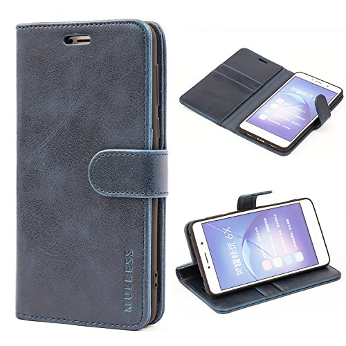 Mulbess Honor 6X Protective Cover, Magnetic Closure RFID Blocking Luxury Flip Folio Leather Wallet Phone Case with Card Slots and Kickstand for Huawei Honor 6X, Navy Blue