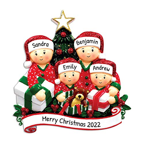 Personalized Opening Present Family of 4 Christmas Tree Ornament 2020 - Children in Pajamas unpack Tradition on Eve Morning Grandkids Cousins PJs Gift Year - Free Customization (Four)