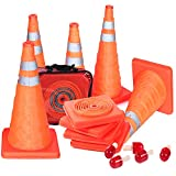 5PCS 18' Collapsible Traffic Cones with Nighttime LED Lights Pop up Safety Road Parking Cones Weighted Hazard Cones Construction Cones Fluorescent Orange w/2 Reflective Silver Strips Collar