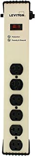 Leviton 5100-IS2 120 Volt, 20 Amp, Surge Protected, 6-Outlet Strip with Switch, Heavy Duty, 6-Ft,Beige