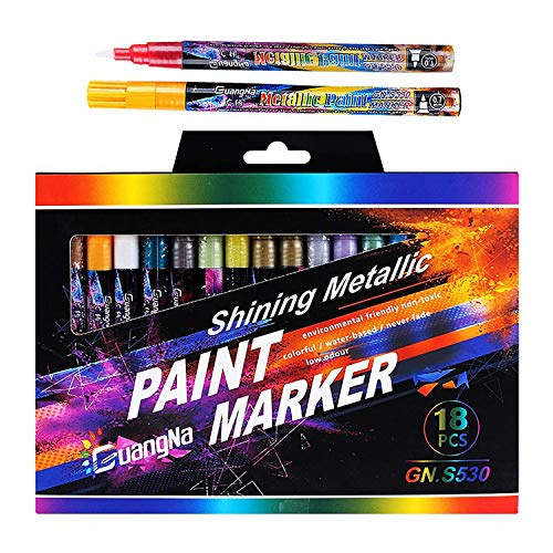Gxhong 18 colores Acrilicos Permanentes Pintura, Rotuladores, 0.7mm Marcador Metálico Marcadores para...