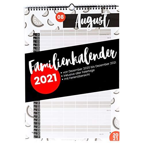 XXL Familienkalender 2021 (Wandkalender A3 mit 6 Spalten) - Familienplaner mit sechs Spalten - Familien Kalender zum Aufhängen an der Wand (Jahreskalender 2021) - rot und schwarz