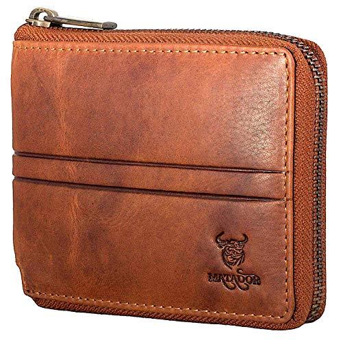 MATADOR Herren Leder Geldbörse TüV geprüfter RFID & NFC Schutz Antik Vintage Braun