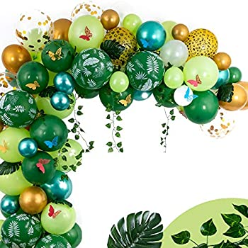 Jungle Balloon Garland Kit - Tropical Party Decorations w/ Green Safari Balloons for Realistic Jungle Theme Party - Supplies for Boys or Girls Birthday Party Decor or Gender Neutral Baby Shower Arch