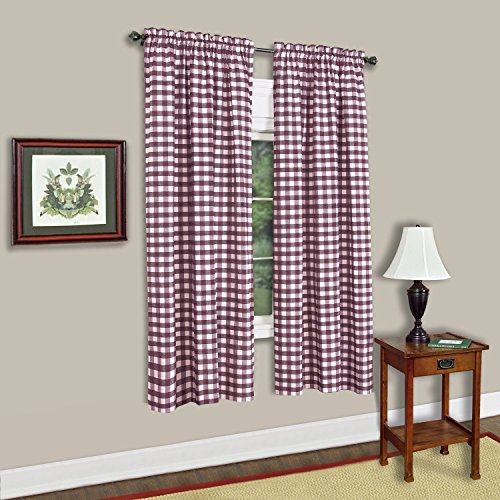 Sweet Home Collection Kitchen Window Curtain Panel Treatment Decorative Buffalo Check Design 63' Long Burgundy