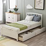 Twin Bed with Drawers,Wood Bed Frame with Headboard and Footboard Wood Platform Captain Bed for Boys, Girls, Kids, Teens and Adults,White