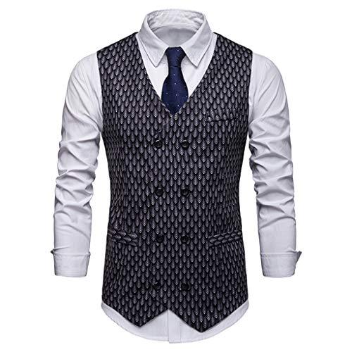 Battnot Herren Weste Business übersteigt, Männer Doppelreihige Taste Slim Fit Karierter Gedrucket Anzug Weste Regular Fit Mens Vest Modern Fashion Design Tops Schwarz Grau s-XXL