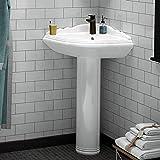 Magnus Home Products Yakima Vitreous China Corner Pedestal Bathroom Sink, 26 1/2' L x 21 1/8' W, 70.0 lb