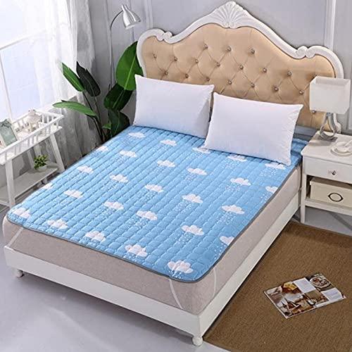 XGguo Protector de colchón, algodón, poliéster, Alfombrilla Protectora cepillada Antideslizante Mat-Blue_200 * 220cm