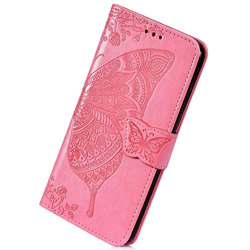 Herbests Kompatibel mit Samsung Galaxy S7 Handyhülle Muster Cool Schmetterlinge Blumen Muster Flip Case Schutzhülle Brieftasche Hülle Wallet Leder Hülle Klapphülle Kredit Karten,Rosa