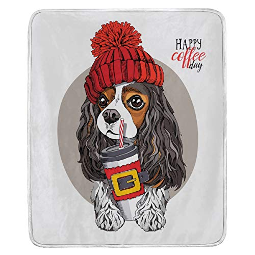 Pfrewn Cavalier King Charles Spaniel Throw Blanket for Bed Couch Red Knitted Hat Plastic Cup Puppy Fleece Blankets Soft Cozy Warm Blankets Double-Sided for Chair Office Home Sofa All Season 50x60 in