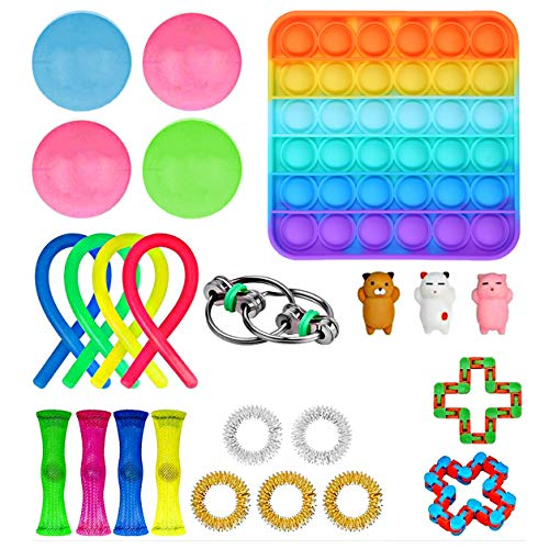 Fidget Spielzeug Set,Anti Stress Spielzeug Set,Sensory Toys für Stressabbau und Anti-Angst für Kinder und Erwachsene ADD ADHS (Einheitsgröße, Square 24 Pack)