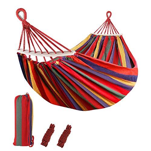 Sooair Hamaca Colgante, Camping Hamaca 300kg Capacidad de Carga Ultra Ligera Nylón de Paracaída Portátil y Transpirable, 2 eslingas Incluidas (Rojo)