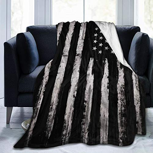 Yoga Flannel Fleece Blankets, 60' x 50', Vintage Black and Gray Grunge American Flag Independence Throw Blanket for Better Sleep Picnic Wedding Gift, Air Conditioning Blanket and Comfy Lightweight