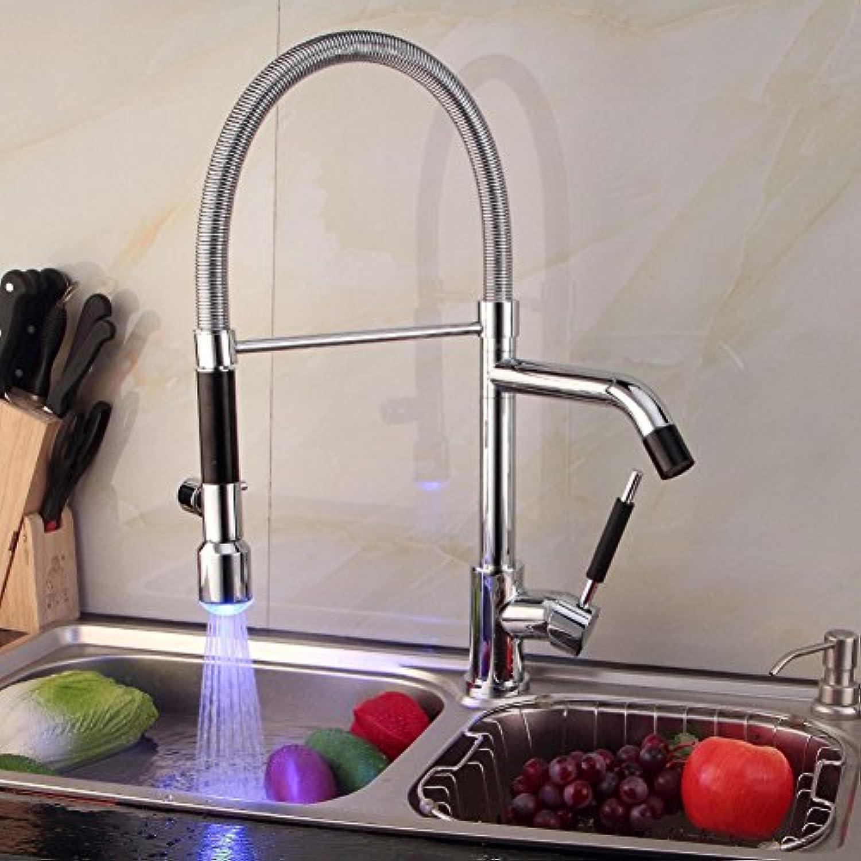 GZF Wasserhahn LED Waschbecken Wasserhahn Frühling Küche Wasserhahn rotierende Wasserhahn