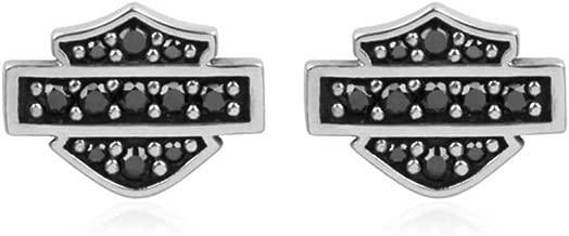 Harley-Davidson Women's Petite Black Bling Bar & Shield Post Earrings HDE0281