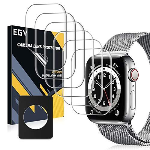 EGV Compatibile con Apple Watch Series SE/6 44mm Pellicola Protettiva,6 Pack, Trasparente Morbida Pellicola Protettiva HD