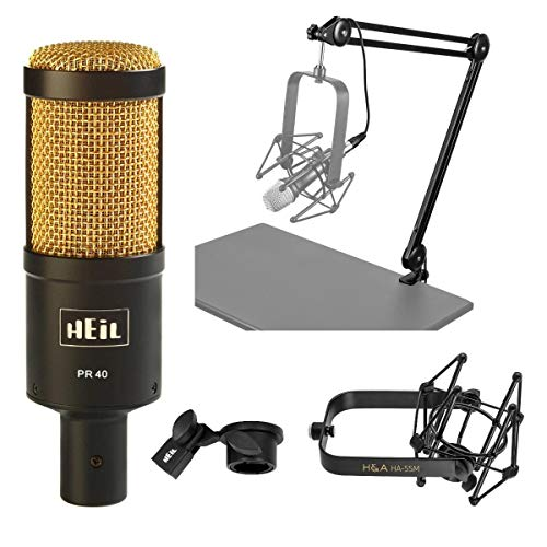 Heil Sound PR40 Large Diameter Dynamic Cardioid Studio Microphone, Black Body, Gold Grill - Broadcast Arm With XLR Cable - Microphone Suspension Shockmount