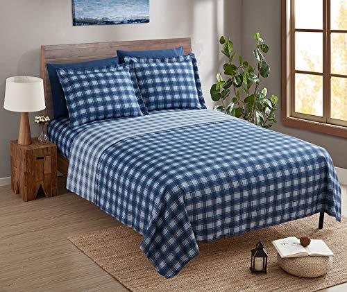 CLARA CLARK - Juego de sábanas con Fundas de Almohada, colección Premier 1800, Resistente a Las Arrugas, la decoloración y Las Manchas, tamaño Completo, Cuadros Azules