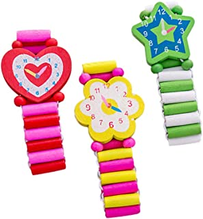 Hemobllo 3pcs Wooden Cartoon Simulation Wristwatch Child Bracelet Watch for Children (Random Style)