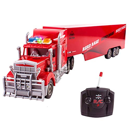 """Vokodo RC Semi Truck And Trailer 23"""" With Lights Electric Hauler Remote Control Kids Big Rig Toy Carrier Van Transport Vehicle Ready To Run Semi-truck Cargo Car Great Gift For Children Boys Girls Red"""