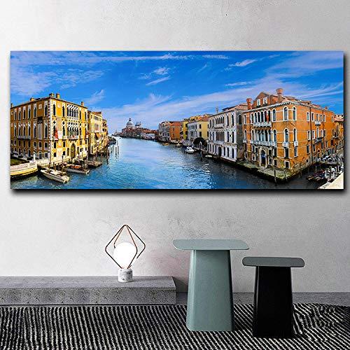 VVSUN Venecia Italia Ciudad Paisaje mar Agua Lienzo Pintura Carteles Impresiones Pared Arte Imagen para Sala de Estar Moderna decoración del hogar; 60x120cm (sin Marco)