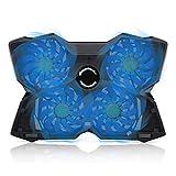 Ventiladores Portátil 15,6 Pulgadas, Universal Base Refrigeración USB Silencioso Externo para Netbooks Laptop a 17' Potente 4 Ventilador Gaming Enfría Rápida