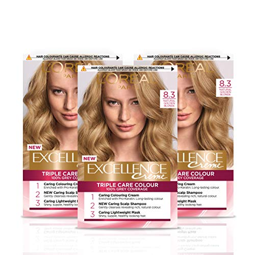 L Oréal Paris Excellence Crème Permanent Hair Dye, Radiant At-Home Hair Colour with up to 100% Grey Coverage, Pro-Keratin, Up to 8 Weeks of Colour, Pack of 3, Colour: 8.3 Natural Golden Blonde