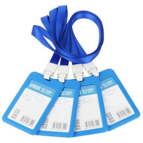 GTIWUNG 4 Pcs Funda de Tarjeta de Identificación, ID Titular de la Tarjeta, Vertical Etiqueta de Nombre Insignia ID Card Holders, ID Badge Holder and Neck Lanyard, Azul