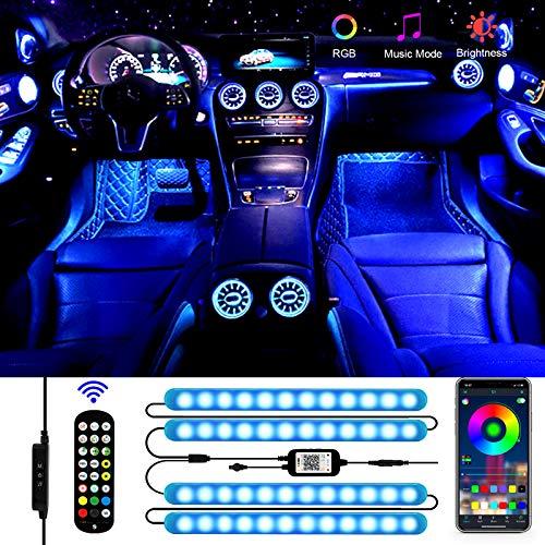 Luz Interior Coche, Aimocar luz LED coche Interior Tira Interior coche LED...