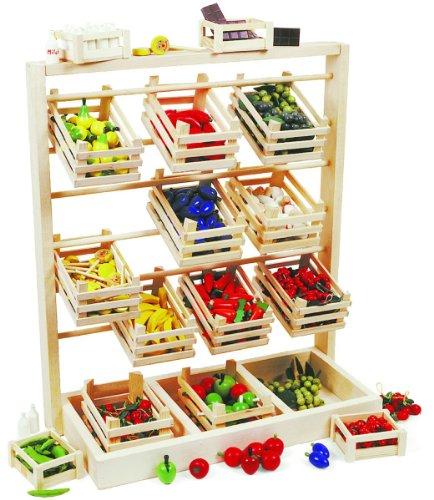 small foot 7035 Verkaufsstand aus Holz, großer Stand mit zwölf leeren Kisten, schöne und stabile Ausführung