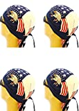 Buy Caps and Hats Doo Rag Set of 4 American Flag Bald Eagle Skull Cap Head Wrap Pack Red White Blue