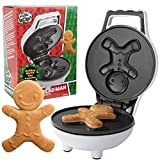 Gingerbread Man Mini Waffle Maker - Make Christmas Special for Kids with Cute 4 Inch Waffler Iron, Electric Non Stick Breakfast Appliance, Fun Gift for Holidays & Parties