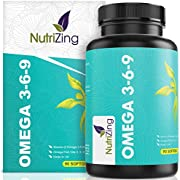 Omega 3 6 9 Triple Strength Fish Oil + Flaxseed Oil & Sunflower Oil - EPA & DHA - High Strength 1000mg - Made in The UK - Omega369 in one softgel by NutriZing - Potent Essential Fatty Acids