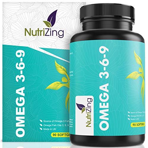 NutriZing Omega 3 6 9 verdreifachte Fischöl Komplexe Stärke - 1000mg für Frauen & Männer - 90 Kapseln - Leinsamenöl - EPA und DHA tragen zur normalen Funktion des Herzens bei