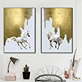 Nordic Minimalist Animal Art Horse Canvas Painting Mural Living Room Art Modern Abstract Canvas Art Poster 60X90cm