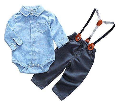 Feoya Mono con Pantalones Tirantes Ajustables Traje Diario Ropa Casual para Bebé Niño 6-9 Meses - Auzl